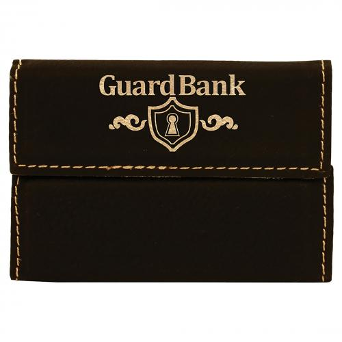Black Leatherette Business Card Holder Business Gifts with Gold Trim