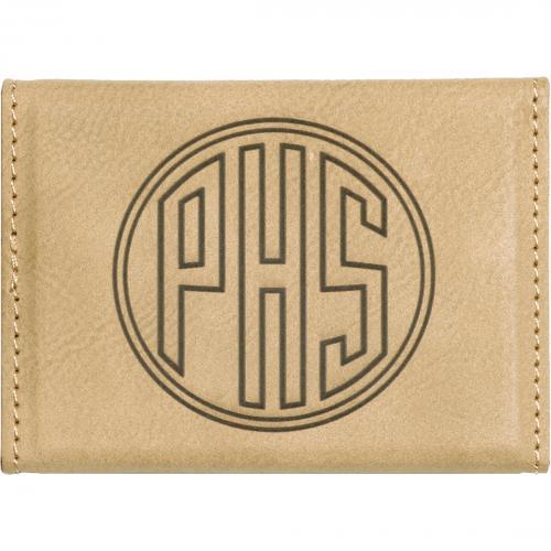 Light Brown Laserable Leatherette Hard Business Card Holder