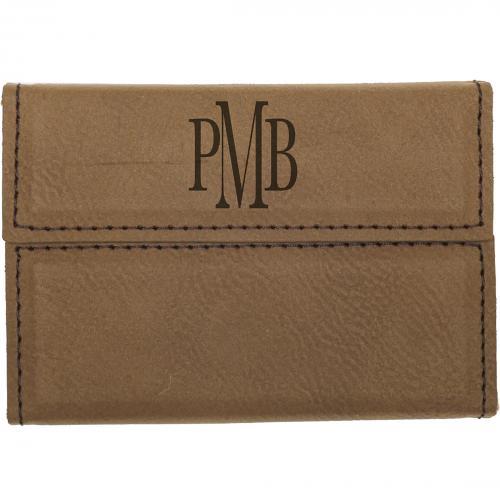 Dark Brown Laserable Leatherette Hard Business Card Holder