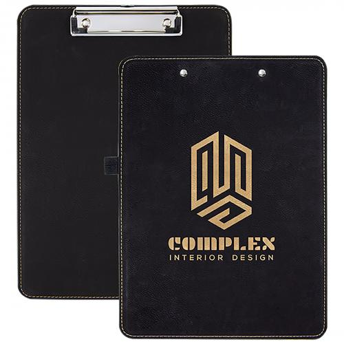 Black Engraves Gold Laserable Leatherette Clipboard