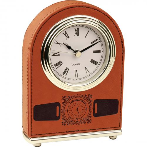 Rawhide Laserable Leatherette Arch Desk Clock