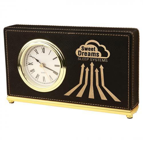 Black Laserable Leatherette Horizontal Desk Clock with Gold Trim