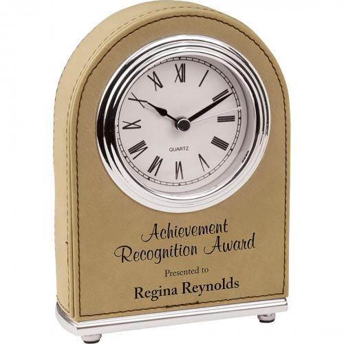 Light Brown Laserable Leatherette Arch Desk Clock