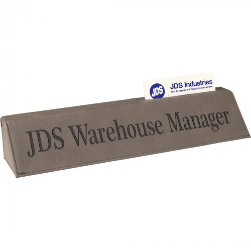 Gray Leatherette Desk Wedge with Business Gift Card Holder
