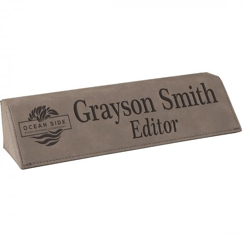Gray Leatherette Desk Wedge Corporate Gifts