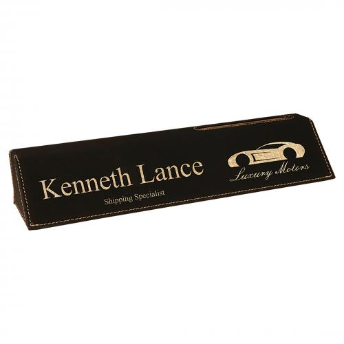Black Leatherette Desk Wedge with Card Holder Corporate Gifts & Gold Trim
