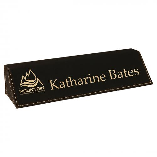 Black Leatherette Desk Wedge Corporate Gifts with Gold Trim