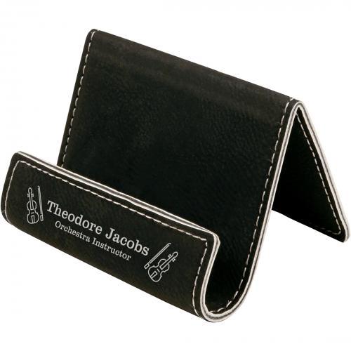 Black Engraves Silver Leatherette Desk Phone Holder with Silver Trim