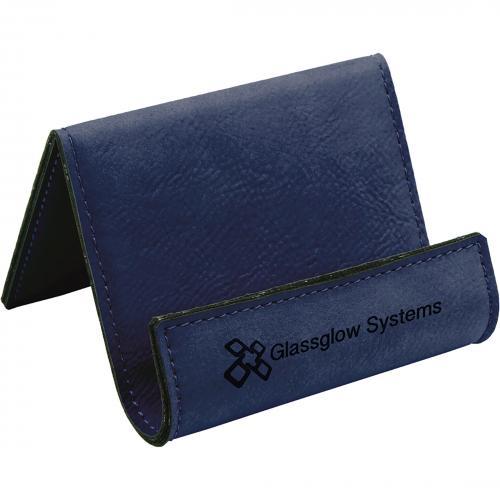 Blue Engraves Black Leatherette Desk Phone Holder