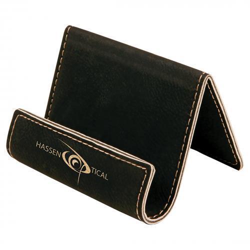 Black Leatherette Desk Phone Holder with Gold Trim