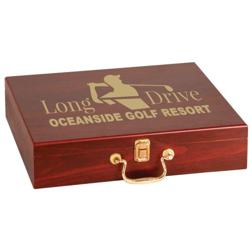 Rosewood Golf Set with Brass Latch Corporate Gifts