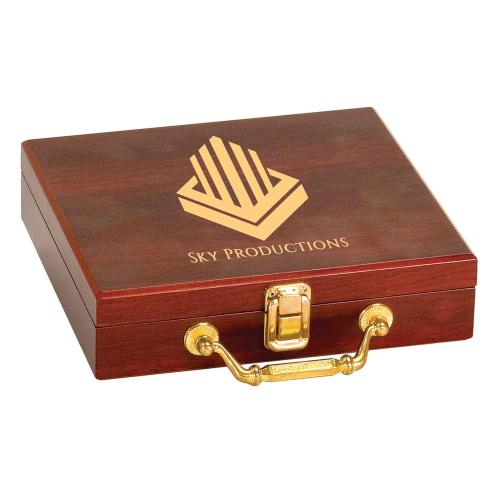 Personalized Rosewood Poker Set Gifts with Brass Latch & Handle