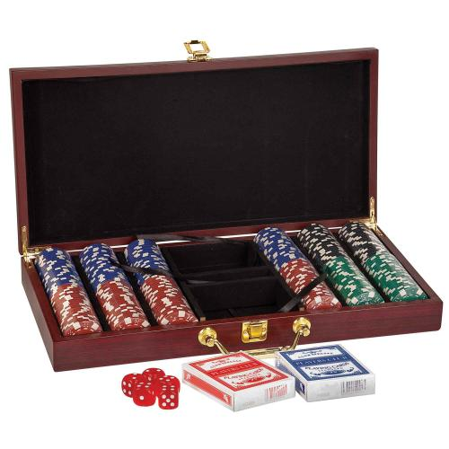 Rosewood Poker Set Personalized Gifts with Brass Latch & Handle