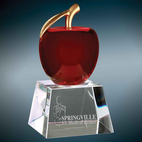 Red Optical Crystal Apple on Clear Base