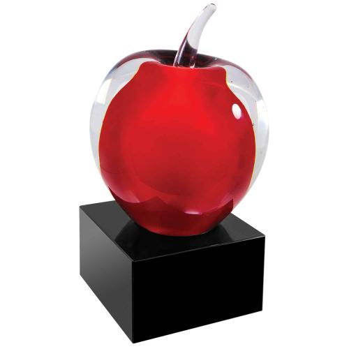 Red & Clear Art Glass Apple on Black Base
