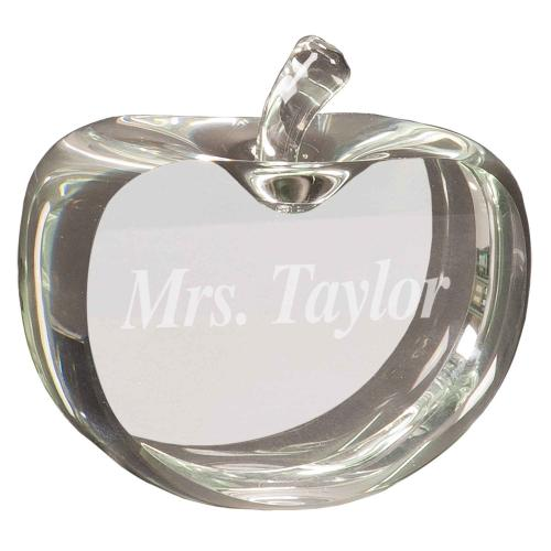 Clear Optical Crystal Flat Apple Papaerweight