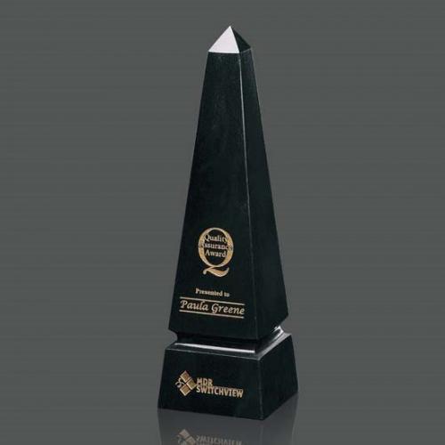 Black Marble Grooved Obelisk Award