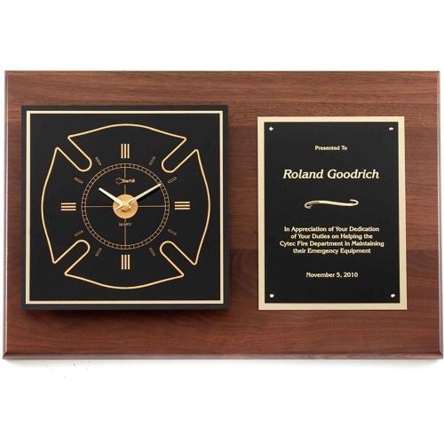 Maltese Walnut Cross Clock with Black Brass Plate