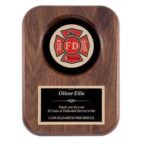 Firefighter Walnut Insignia Plaque