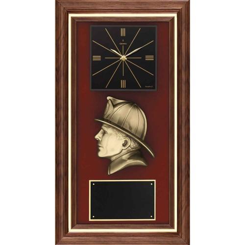 Bronze Firefighter Walnut Plaque with Cast Metal Fireman & Black Brass Plate