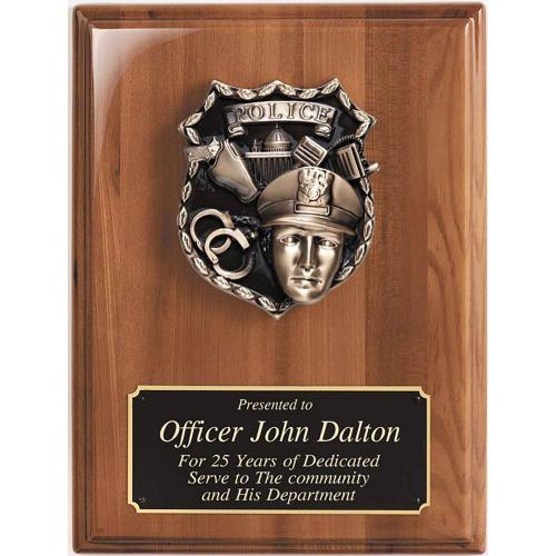 Piano Finished Walnut Police Plaque with Police Metal Casting