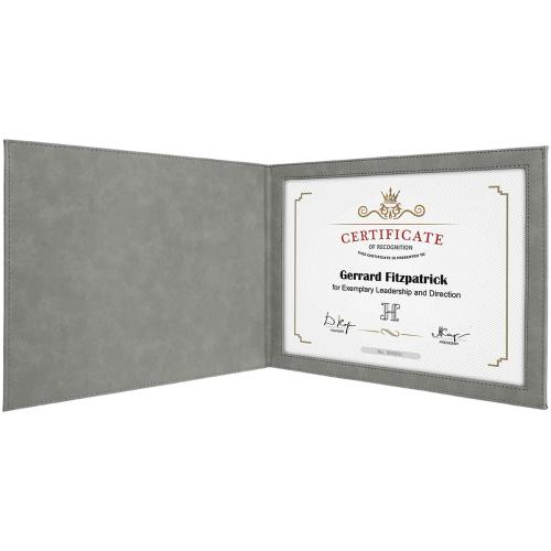 Gray Laserable Leatherette Certificate Holder