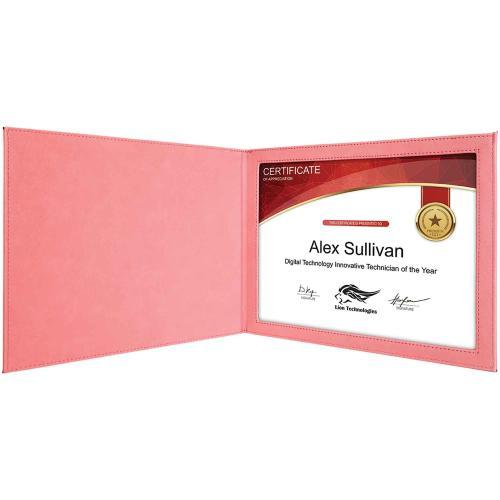 Pink Laserable Leatherette Certificate Holder