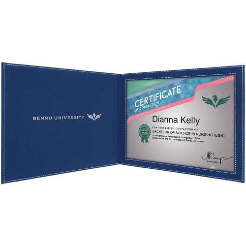 Blue Engraves Silver Leatherette Certificate Holder