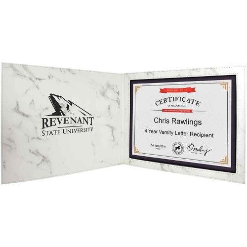 White Marble Laserable Leatherette Certificate Holder