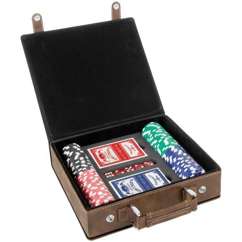 Rustic Laserable Leatherette 100 Chip Poker Set