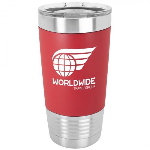 Black Engraves White Stainless Steel 20 oz. Polar Camel Tumbler with Clear Lid