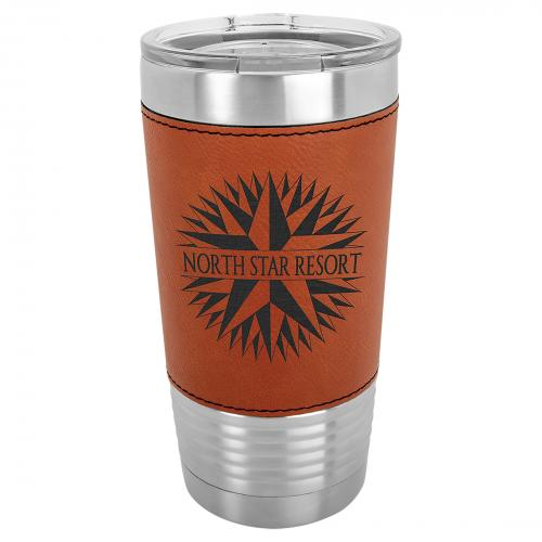 Rawhide Laserable Leatherette Stainless Steel 20 oz. Polar Camel Tumbler with Clear Lid