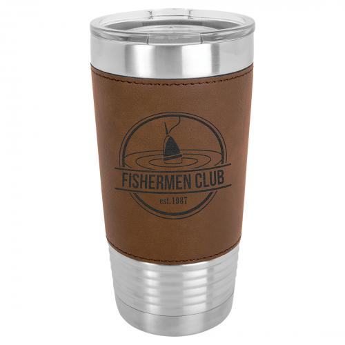 Dark Brown Leatherette Stainless Steel 20 .oz. Polar Camel Tumbler with Clear Lid