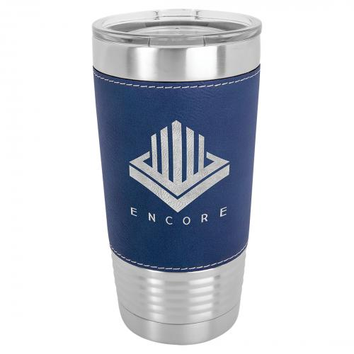 Blue Engraves Silver Stainless Steel 20 oz. Polar Camel Tumbler with Clear Lid