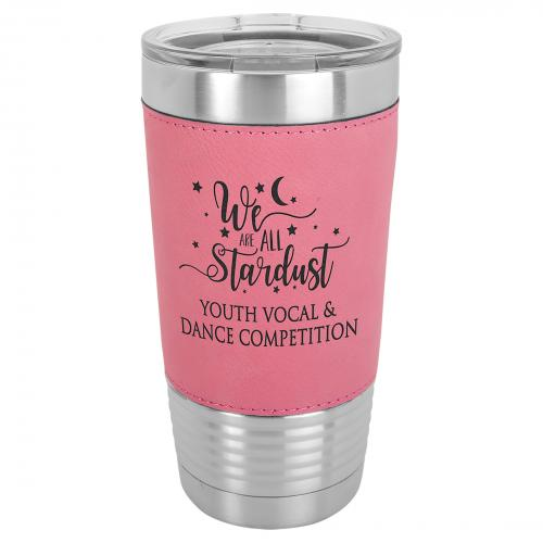 Pink Laserable Leatherette Stainless Steel 20 oz. Polar Camel Tumbler with Clear Lid