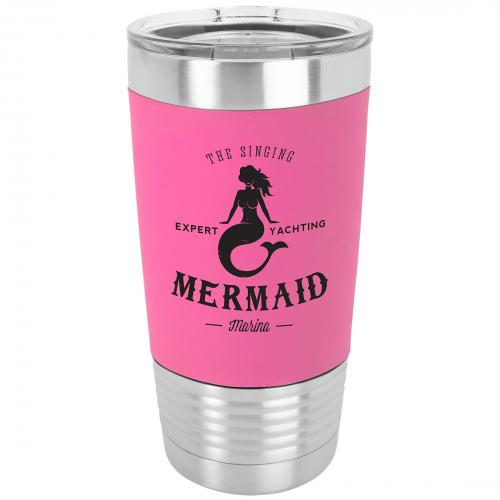 Pink Engraves Black Stainless Steel 20 oz. Polar Camel Tumbler with Clear Lid