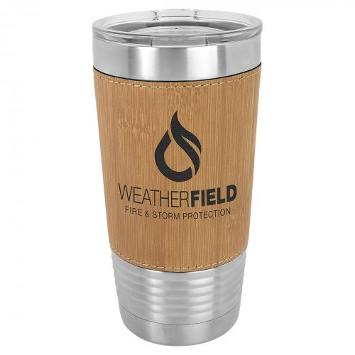 Bamboo Laserable Leatherette Stainless Steel 20 oz. Polar Camel Tumbler with Clear Lid