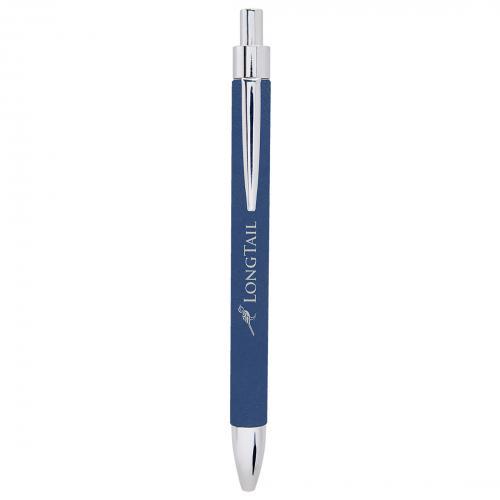 Blue Engraves Silver Laserable Leatherette Pen