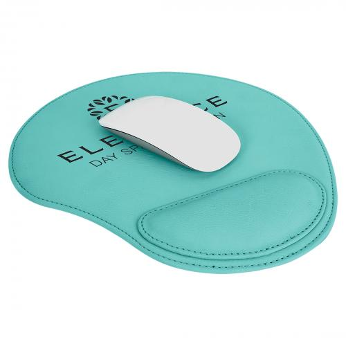 Teal Engraves Black Laserable Leatherette Mouse Pad