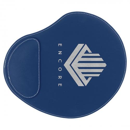 Blue Engraves Silver Laserable Leatherette Mouse Pad