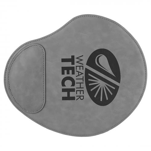Gray Engraves Black Laserable Leatherette Mouse Pad