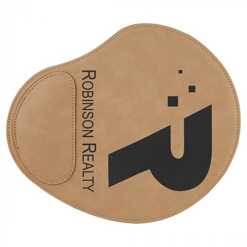 Light Brown Engraves Black Laserable Leatherette Mouse Pad