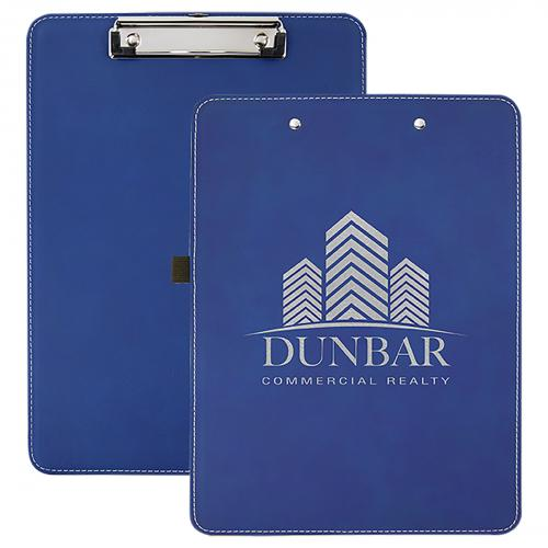 Blue Engraves Silver Laserable Leatherette Clipboard