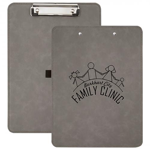 Gray Engraves Black Laserable Leatherette Clipboard