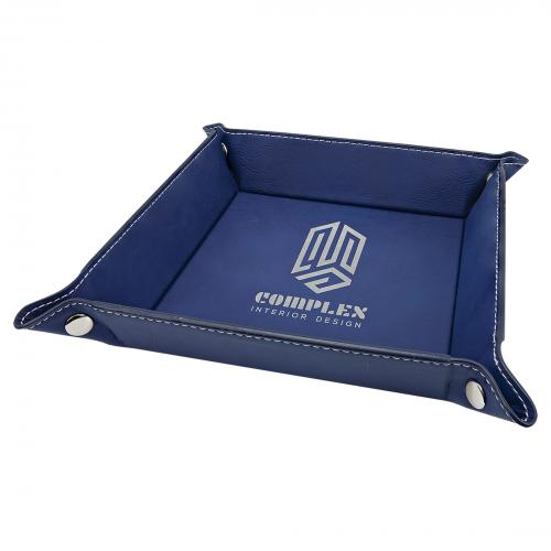 Blue Engraves Silver Laserable Leatherette Snap Up Tray
