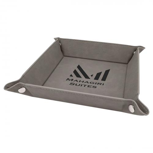 Gray Engraves Black Laserable Leatherette Snap Up Tray