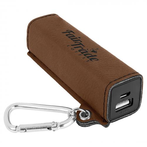 Dark Brown Engraves Black Laserable Leatherette Power Bank with USB Cord