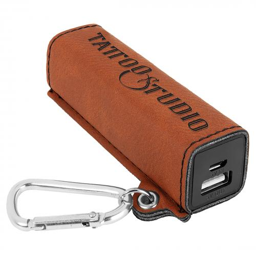 Rawhide Engraves Black Laserable Leatherette Power Bank with USB Cord