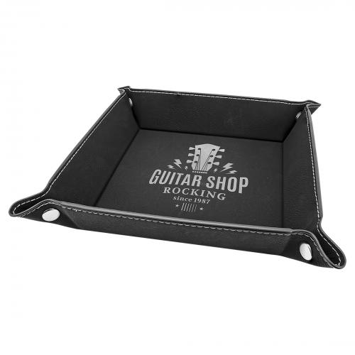 Black Engraves Silver Laserable Leatherette Snap Up Tray