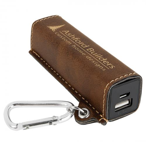 Rustic Engraves Gold Laserable Leatherette Power Bank with USB Cord